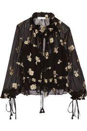 ChloéEmbroidered silk-chiffon blouse