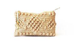 Bolsa de playa de la paja embrague de rafia tejida bolso de
