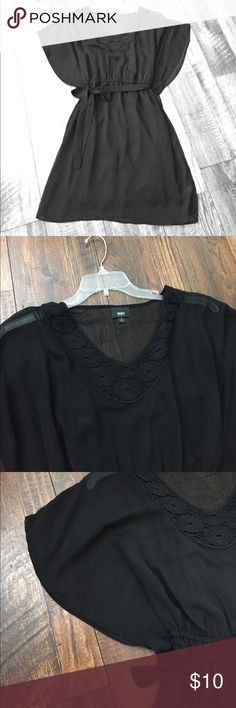 Black Sheer Mossimo Dress A black sheer dress with slip included. Massimo size small. Crocheted scoop neckline. Flutter sleeves that reach to waste. Elastic band and gathered waist. Detachable sheer tie. Both she earpiece and slip are 100% polyester. 35 in long, 13 in waist Mossimo Supply Co Dresses Midi