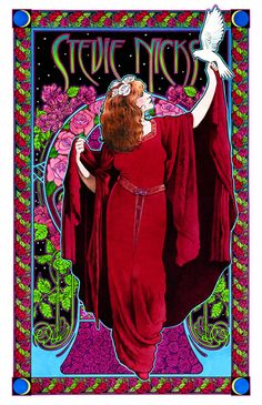 Stevie Nickes White-winged Dove poster by Bob Masse. Bob produced memorable concert posters for bands as far back as the '60's, and helped pioneer the emerging psychedelic art genre.