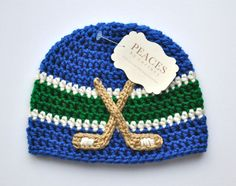 Royal Blue, White  Green Hockey Beanie Hat for Baby from Peaces by Cortney at www.etsy.com/shop/peacesbycortney