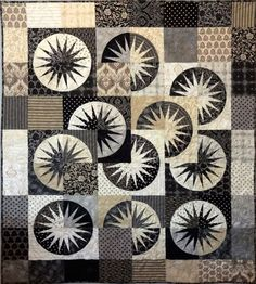 Circle Quilts, Star Quilt Blocks, Quilt Block Patterns, Black And White Quilts, Advent, Homemade Quilts, Japanese Quilts, Foundation Paper Piecing, Scrappy Quilts