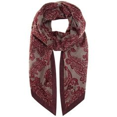 Loro Piana Printed Cashmere and Suede Scarf (€2.535) ❤ liked on Polyvore featuring accessories, scarves, red, red scarves, loro piana, red cashmere shawl, cashmere scarves and cashmere shawl