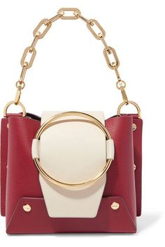 Ruby and cream textured-leather (Calf) Snap-fastening front flap Weighs approximately Made in Spain Leather Shoulder Bag, Shoulder Strap, Mini S, Victoria Beckham, Black Suede, Calves, Spain, Burgundy, Card Holder