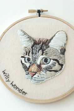 Hand Embroidered Cat (or Dog) Portrait by HOOPLASTITCH // Beautiful embroidery portrait of a tabby cat within an embroidery hoop