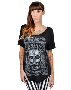 TOO-FAST-CHOOSE-YOUR-FATE-SKULL-GOTHIC-TATTOO-PUNK-ROCK-SCOOP-NECK-T-SHIRT-S-XL