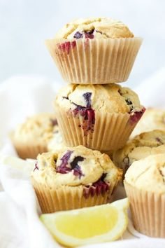 Grain free Blueberry Muffins are the perfect, protein-packed, on-the-go breakfast or afternoon snack. These delicious Paleo-friendly muffins are overflowing with blueberries and have a subtle buttery, lemon flavor. Zucchini Chocolate Chip Muffins, Easy Blueberry Muffins, Healthy Muffins, Blue Berry Muffins, Lemon Muffins, Blueberry Chocolate, Zucchini Muffins, Gluten Free Treats, Gluten Free Desserts