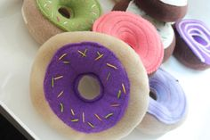 Squeaky Felt Dog Toy Chocolate and Vanilla Donuts