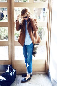 <3 Outfit: Casual with Boyfriend Jeans, Loafers, tan Coat