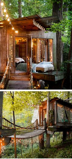 treehouse with bridge entry, sloped roof, windows.