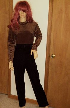 Jessica Howard Vintage Black Velvet Jumpsuit W/ by outoftheattic2u