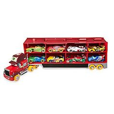 Carnival Mack Carrier Set | Disney Store Being on the road all day can be lonely so Mack is grateful to have plenty of company. Boasting a colorful set of orange wheels, Carnival Mack is loaded up with eight die cast racers, and has a lot to say when you press his cab roof.