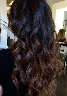 Gorgeous long layered hair with chocolate-brown balayage