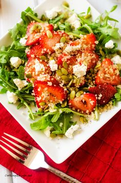 Strawberry Arugula Quinoa Salad with Sweet Lime Vinaigrette - Cooking Quinoa (with vegan options)