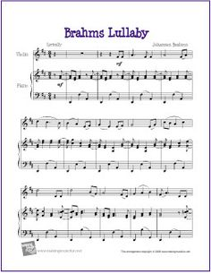 Brahms Lullaby by Johannes Brahms for Intermediate Violin Solo with Piano Accompaniment Free Clarinet Sheet Music, Easy Violin Sheet Music, Trumpet Sheet Music, Violin Music, Music Sheets, Music Music, Cello, Guitar, Free Printable Sheet Music