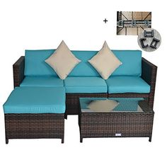 Outime Outdoor Rattan Wicker Sofa Set Garden Patio Furniture Cushioned Sectional Conversation Sets-Easy Assembled(Brown,5 Piece) #Outime #Outdoor #Rattan #Wicker #Sofa #Garden #Patio #Furniture #Cushioned #Sectional #Conversation #Sets #Easy #Assembled(Brown, #Piece)