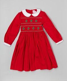 Red Christmas Tree Smocked Dress - Infant, Toddler & Girls #zulily #zulilyfinds