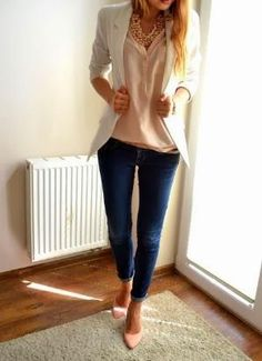 White Blazer, Nude Pumps, Peach Color shirt And Blue Jeans by christa