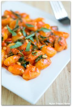 Roasted Red Pepper Gnocchi with Spinach & Pine Nuts