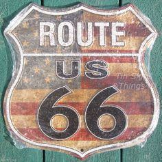 US Route 66 Shield flag road sign aluminum metal vtg garage bar diner wall decor