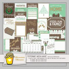 """""""Peppermint Mocha Magic"""" digital / printable pocket card kit, perfect for use in holiday scrapbooking, Project Life album, or December Daily album."""