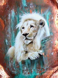 Copper White Lion by Sandi Baker - Copper White Lion Painting - Copper White Lion Fine Art Prints and Posters for Sale Leo Lion, Lion And Lioness, Lion Of Judah, Animal Espiritual, Illustration Art Dessin, Lion Painting, Lion Wallpaper, Prophetic Art, Lion Art