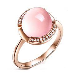 Carpe Diem - Brazil Rose Quartz Diamond Rose Gold Ring