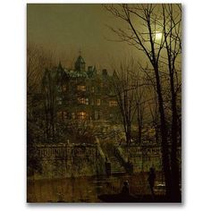 Trademark Fine Art Knostrop Old Hall, Leeds Canvas Wall Art by John Atkinson Grimshaw, Size: 18 x 24, Multicolor