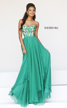 Sherri Hill 1924 Emerald Empire Waist Prom Dress