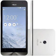 """Smartphone ZenFone 5 ASUS Branco - 8GB - Intel 1.6 GHZ - A501CG-2B395BRA - Dual SIM - Câmera 8MP - Tela 5"""" - Android 4.3 Compre em oferta por R$ 519.00 no Saldão da Informática disponível em até 6x de R$86,50. Por apenas 519.00"""