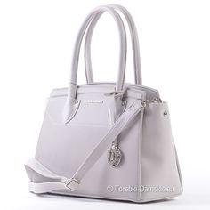 fa1c214253aca Oryginalna torebka marki David Jones - kuferek w jasnym odcieniu koloru  popielatego - modny design,