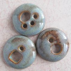 3 Porcelain Buttons Handmade by marlasmud on Etsy