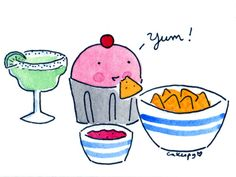 Cuppie (by Cakespy) eating chips & salsa and drinking a margarita! This is perfect for me!