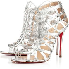 Christian Louboutin Laurence Anyway (4,010 PEN) ❤ liked on Polyvore featuring shoes, sandals, heels, louboutin, christian louboutin, silver, caged sandals, christian louboutin shoes, peep toe heel sandals and lace up shoes
