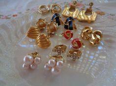 Earrings Goldtone Destash Lot 9 Pairs Pierced by PrettyOldJewels
