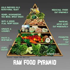"Smart Health Talk Resource: Raw Food Pyramid-People may not choose 100% raw diet, but can include raw meals to replace junk food/low nutrient quality meals. As a dietitian, can get behind this pyramid. Past USDA Food Pyramid replaced with ""Plate"" was obviously influenced by lobbyists & NOT reflective of diet needed to maintain healthy weight/prevent chronic disease. Never forget those 6-11 servings of grain expected to sell patients. Six made me gain weight while exercising. Link 4 wt loss tips."