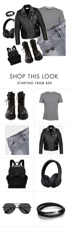 """rock style"" by merymely ❤ liked on Polyvore featuring Rick Owens, Brunello Cucinelli, Yves Saint Laurent, Mulberry, Beats by Dr. Dre, EyeBuyDirect.com, N'Damus, men's fashion and menswear"