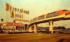 Disneyland entrance showing Monorail 1960s