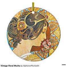 Mucha floral vintage ornement rond en céramique