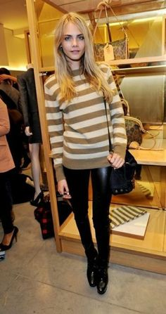 cara delavigne. stripes   leather skinnies - more → http://fashiononlinepictures.blogspot.com/2012/05/cara-delavigne-stripes-leather-skinnies.html