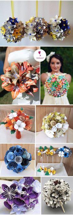 Origami buquê – Origami Wedding Bouquet: