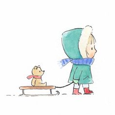 Walking with Ted Original Artwork — Jane Massey Art And Illustration, Ink Illustrations, Graphic Design Illustration, Background Drawing, Background Patterns, Baby Art, Watercolor And Ink, Easy Drawings, Cute Art