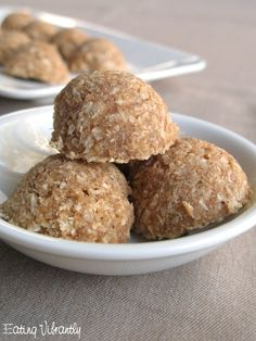 Eating Vibrantly: Raw date coconut macaroons with just four ingredients - coconut, dates, vanilla and salt - so they're gluten-free, nut-free, vegan and paleo