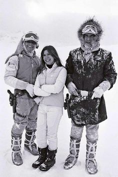 Mark, Carrie and Harrison on Hoth set