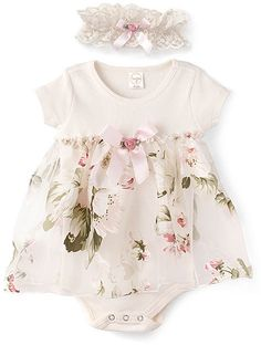 79471bd6620 Take a look at this Ivory   Pink Floral Skirted Bodysuit   Lace Headband -  Newborn   Infant today!