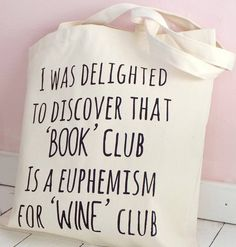 'book club wine club' tote bag by kelly connor designs knitting bags and gifts | notonthehighstreet.com