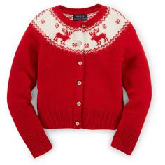Ralph Lauren Childrenswear Long-Sleeve Reindeer Cardigan ($90) ❤ liked on Polyvore featuring tops, cardigans, cruise red, long sleeve tops, red top, red long sleeve top, button front cardigan and relaxed fit tops