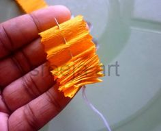 Beautiful marigold flower with crepe paper: Courtesy- Sreeja K Achyuthan Crepe Paper Crafts, Tissue Paper Garlands, Crepe Paper Flowers, Diy Paper, Paper Art, Easy Crafts, Diy And Crafts, Arts And Crafts, Applique Cushions
