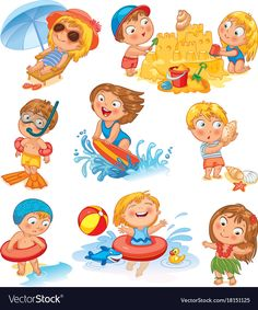 Cute little girl in a bathing suit sunning on the beach under an umbrella. Funny boy in mask, flippers, swimming cap, Lifebuoy. Building a sand castle. Hawaiian dance by Lyudmyla Kharlamova, via ShutterStock Evil Cartoon Characters, Alphabet Letter Crafts, Beach Illustration, Lifebuoy, Butterfly Life Cycle, Dog Vector, Funny Boy, Bath Girls, Cute Little Baby
