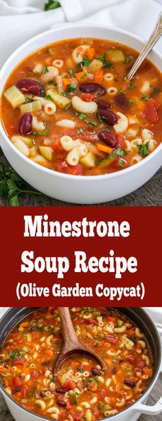 Minestrone soup olive garden copycat- its not just tasty, it's healthy as wel. - Minestrone soup olive garden copycat- its not just tasty, it's healthy as well! Hearty and so qu - Healthy Sweet Snacks, Healthy Soup, Healthy Eating, Healthy Recipes, Quick Soup Recipes, Chicken Recipes, Olive Garden Pasta, Copycat Olive Garden Soup, Olive Garden Soups